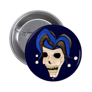 Evil Jester Skull Pinback Buttons