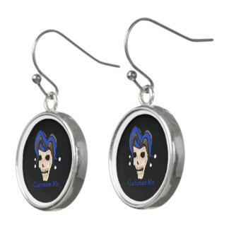 Evil Jester Skull (Blue) Earrings
