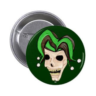 Evil Jester Skull Green Pinback Buttons