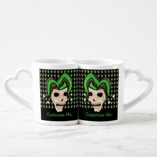 Evil Jester Skull (Green) Couple Mugs