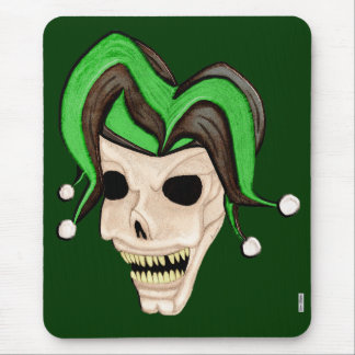 Evil Jester Skull (Green) Mouse Pad