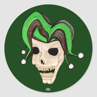 Evil Jester Skull (Green) Round Sticker