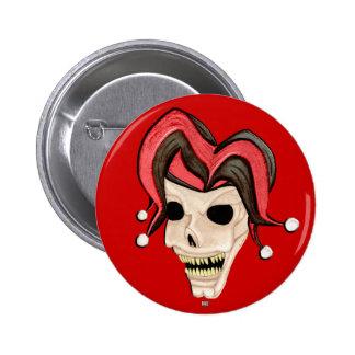 Evil Jester Skull Red Pin