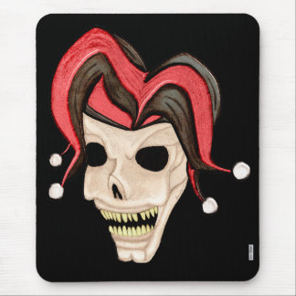 Evil Jester Skull (Red) Mouse Pad