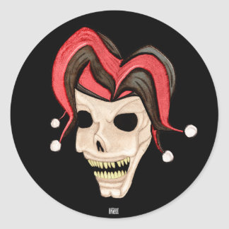 Evil Jester Skull (Red) Stickers