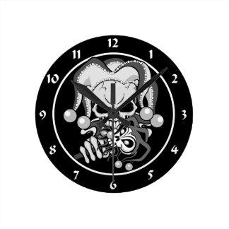 Evil Jester Skull Wall Clocks