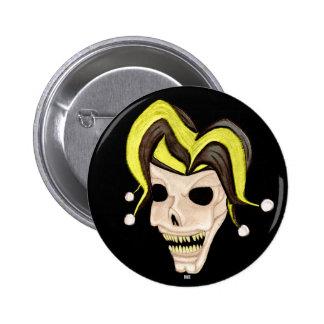 Evil Jester Skull Yellow Pinback Button