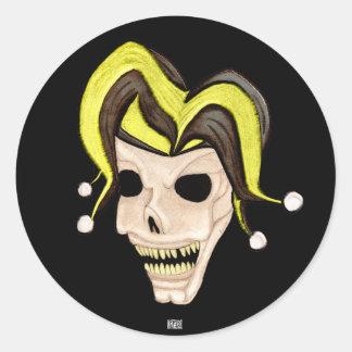 Evil Jester Skull (Yellow) Round Sticker