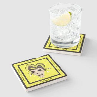 Evil Jester Skull (Yellow) Stone Coaster