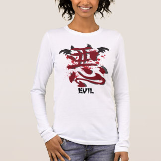 Evil Kanji Ladie's Fitted Long Sleeve Shirt