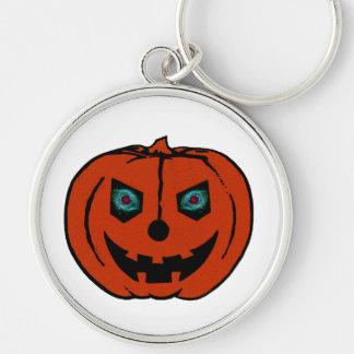 EVIL LANTERN (Halloween Jack-O-Lantern) ~ Silver-Colored Round Key Ring