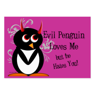 Evil Penguin Anti-Valentines day cards Pack Of Chubby Business Cards