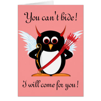 Evil Penguin Cupid Valentine Card