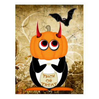 Evil Penguin Halloween Postcard