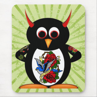 Evil Penguin Tattoo Mouse Pad