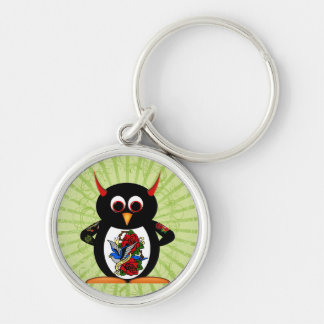 Evil Penguin Tattoo Silver-Colored Round Key Ring