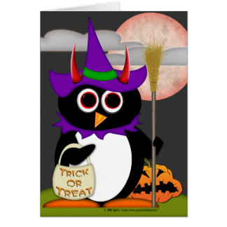 Evil Penguin Witch Card