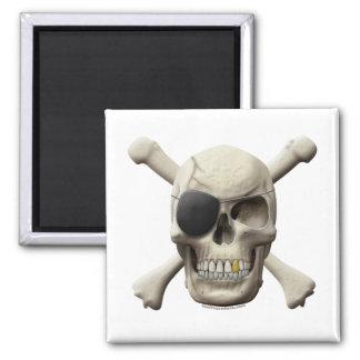 Evil Pirate Skull & Crossbones Square Magnet