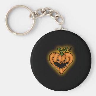 evil pumpkin basic round button key ring