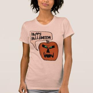 Evil Pumpkin Happy Halloween Ladies Shirt