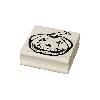 Evil pumpkin illustration art stamp