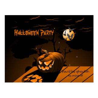 Evil Pumpkin Scary Bats Halloween Invitation Postcard