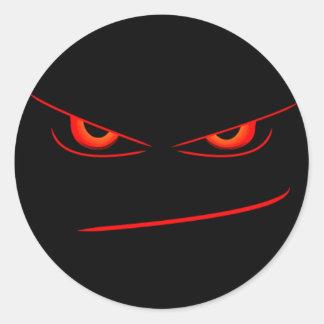 evil red eyes seal round sticker