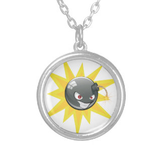 Evil Round Bomb 2 Silver Plated Necklace