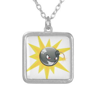 Evil Round Bomb Silver Plated Necklace