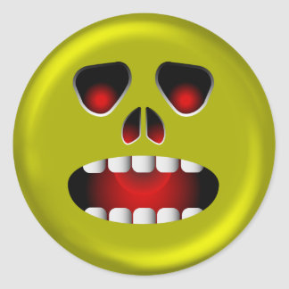 Evil Scary Face Classic Round Sticker