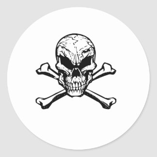 Evil Skull And Crossbones Classic Round Sticker