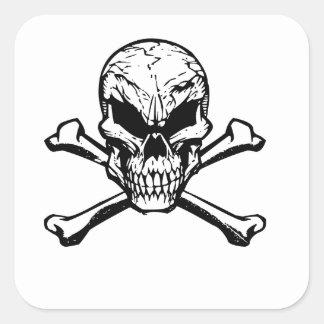 Evil Skull And Crossbones Square Sticker