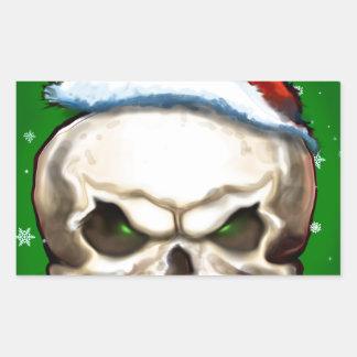 Evil Skull Christmas Rectangular Sticker