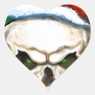 Evil Skull Christmas Heart Stickers
