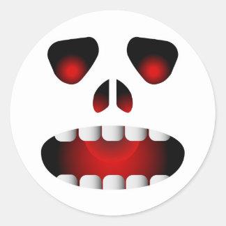 Evil Skull Face Round Sticker