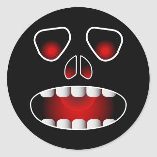 Evil Skull Face Round Stickers