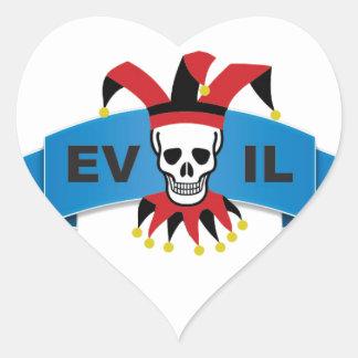 evil skull logo heart sticker