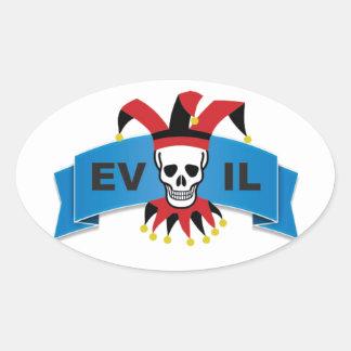 evil skull logo oval sticker
