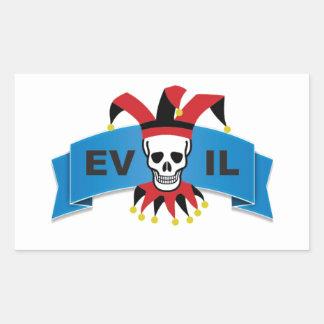 evil skull logo rectangular sticker