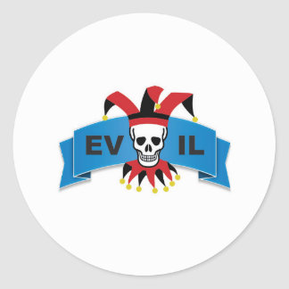 evil skull logo round sticker