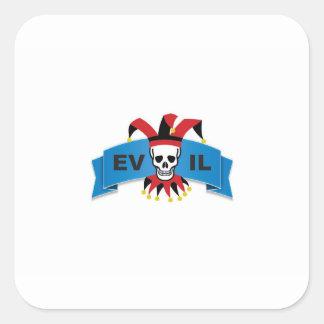 evil skull logo square sticker
