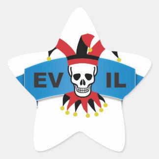 evil skull logo star sticker