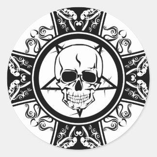 Evil Skull on Cross / Dark / Emo Round Sticker