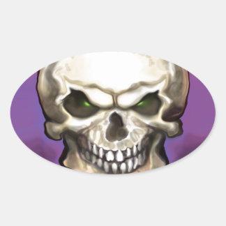Evil Skull Oval Sticker