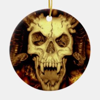 Evil skull round ceramic decoration