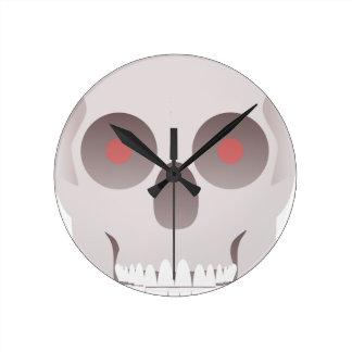 Evil Skull Round Clock