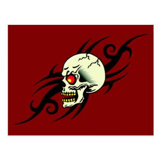 Evil Skull Tribal Tattoo Red Postcard