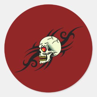 Evil Skull Tribal Tattoo Red Round Sticker