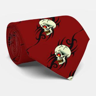 Evil Skull Tribal Tattoo Red Tie