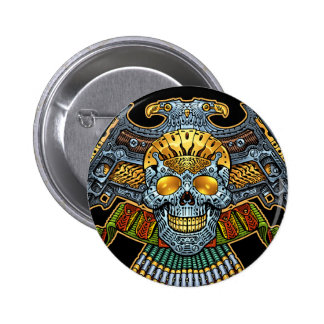 Evil Skull with Guns and Bullets by Al Rio 6 Cm Round Badge